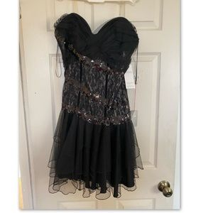 Lord + Taylor black strapless sequins dress